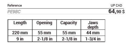 Large capacity locking plier, short jaws 4 setting positions data table