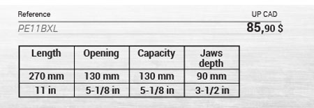 Large capacity locking plier, deep jaws 6 setting positions data table