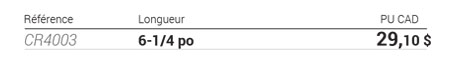 Pince coupante diagonale bimatière tableau de données